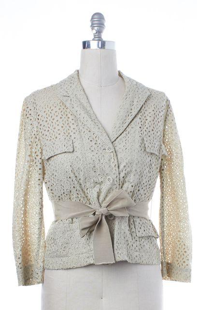 RED VALENTINO Beige Cotton Eyelet Floral Blazer Jacket