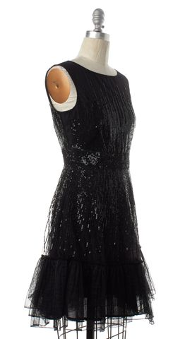 RED VALENTINO Black Sequin Fit & Flare Dress Fits Like a 6
