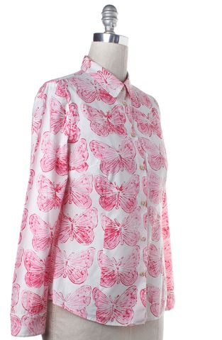 RED VALENTINO Pink Butterfly Print Button Down Shirt