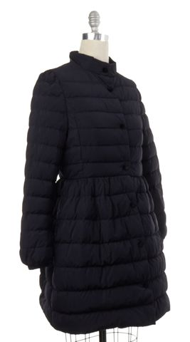 RED VALENTINO Navy Blue Quilted Puffer Snap Button Down Long Coat