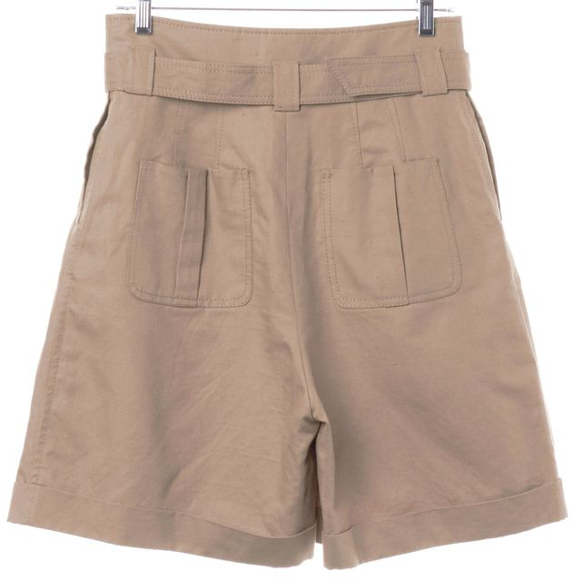 RED VALENTINO Beige Wide Leg Cuffed Khaki Chino Shorts