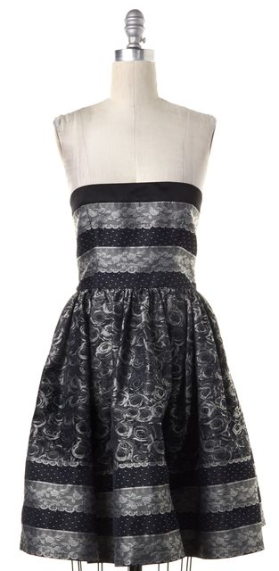 RED VALENTINO Gray Floral Lace Embroidered Strapless Fit Flare Dress