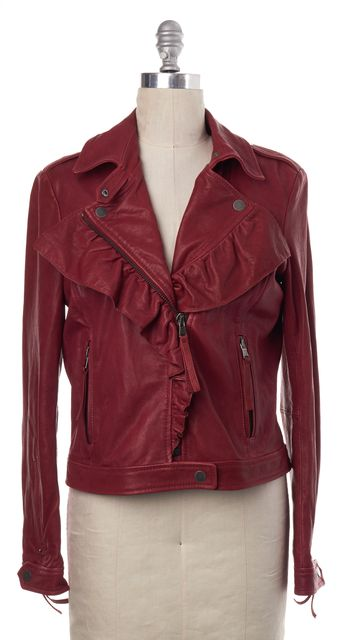 RED VALENTINO Ruby Red Distressed Leather Ruffle Motorcycle Jacket