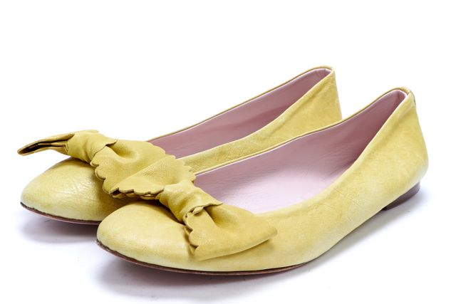 RED VALENTINO Yellow Leather Bow Trim Ballet Flats
