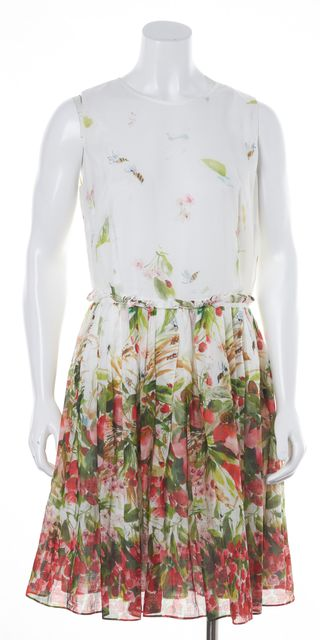 RED VALENTINO White Red Pink Green Abstract Floral Print Fit & Flare Dress