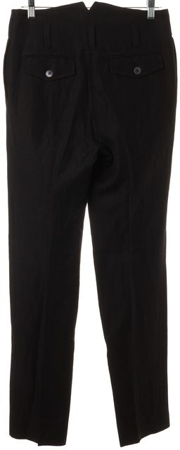 RED VALENTINO Black Wool Linen High Rise Slim Trousers Dress Pants