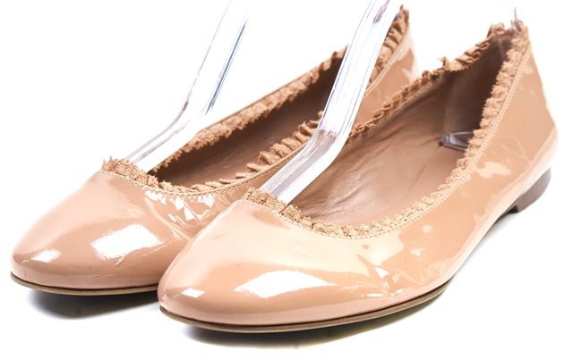 RED VALENTINO Nude Pink Patent Leather Lace Ruffle Trim Flats Size 7.5 IT 37.5
