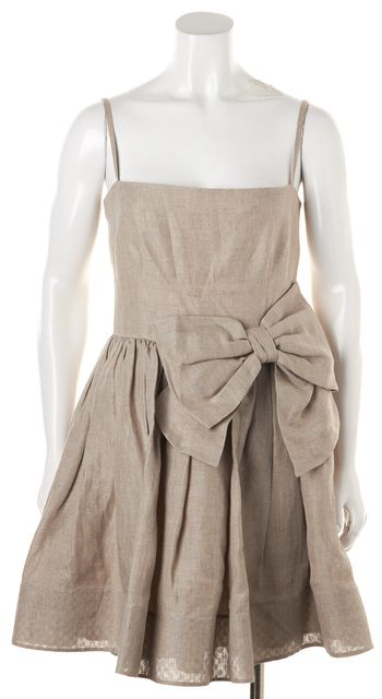 RED VALENTINO Beige Linen Bow Spaghetti Strap Fit Flare Dress