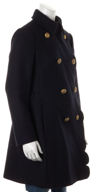 RED VALENTINO Navy Blue Wool Scalloped Double Breasted Peacoat