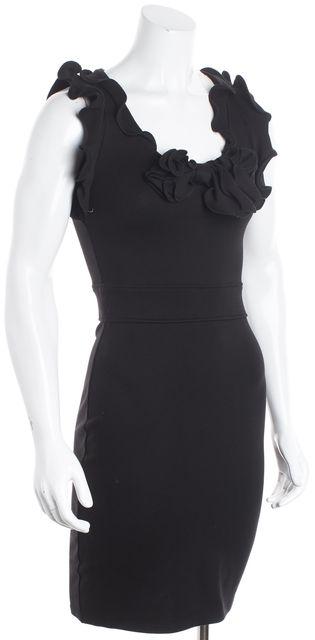 RED VALENTINO Black Ponte Jersey Sleeveless Ruffled Sheath Dress