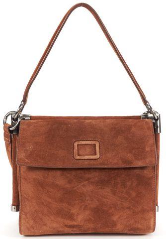 ROGER VIVIER Auth Brown Suede Leather Miss Viv Fringe Crossbody Shoulder Bag