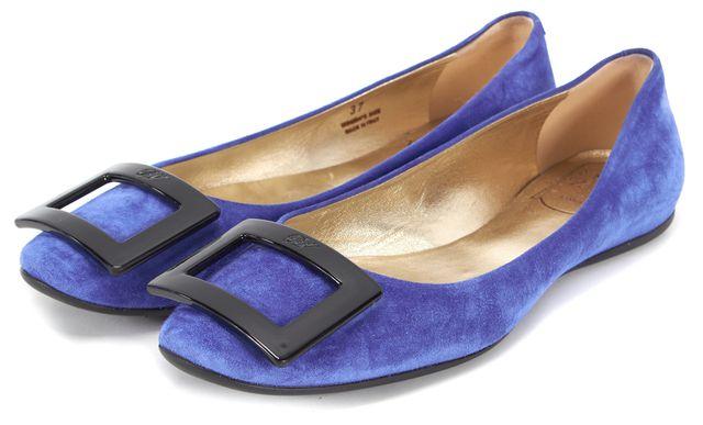 ROGER VIVIER Blue Suede Flats