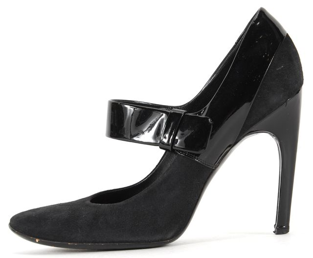 ROGER VIVIER Black Suede Patent Leather Mary Jane Heels