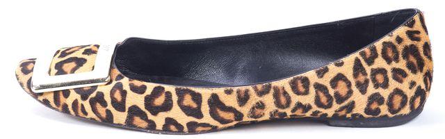 ROGER VIVIER Brown Leopard Print Calf Hair Square Buckle Ballet Flats