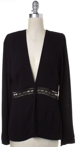 STONE COLD FOX Black Lace Panel Long Sleeve Cardigan