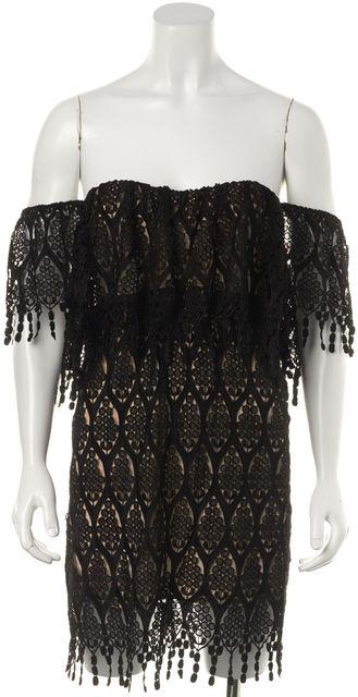 STONE COLD FOX Black Nude Lace Off The Shoulder Fringe Shift Dress
