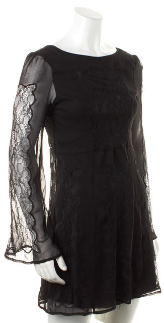 STONE COLD FOX Black Solid Lace Open Back Fit & Flare Dress
