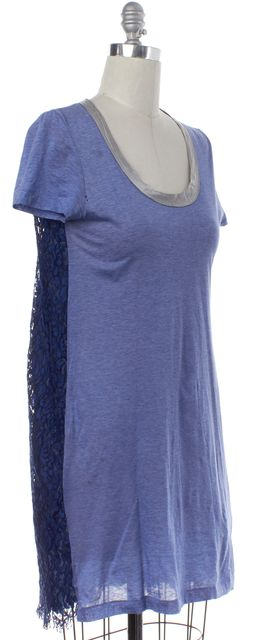 SACAI Blue Lace Shift T-Shirt Dress