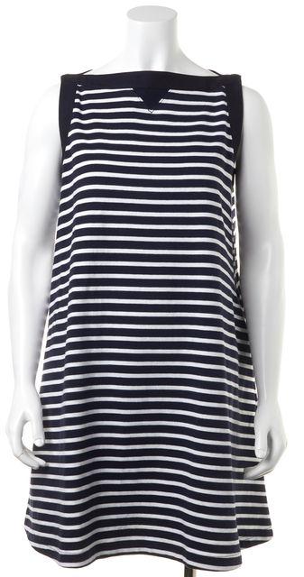 SACAI Navy Blue White Striped Shift Dress