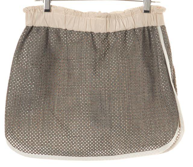 SACAI Black Ivory Geometric Lasercut Mini Skirt
