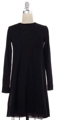 SACAI LUCK Black Knit Silk Panel Long Sleeve Crewneck Shift Dress