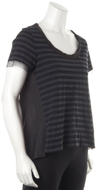 SACAI LUCK Black Striped Basic Tee Top