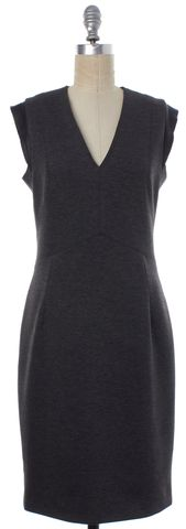 SANDRO Gray Black Leather Trim Pencil Dress