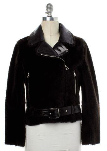 SANDRO Brown Lamb Fur Motorcycle Jacket