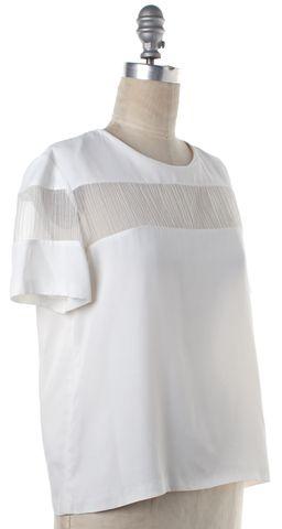 SANDRO White Semi-Sheer Blouse