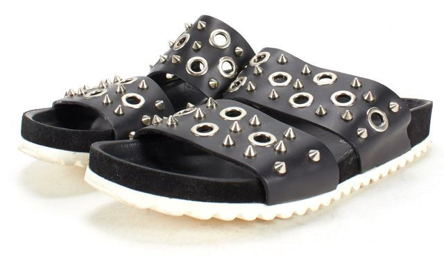 SANDRO Black Studded Grommet Leather Slide On 2 Strap Sandals