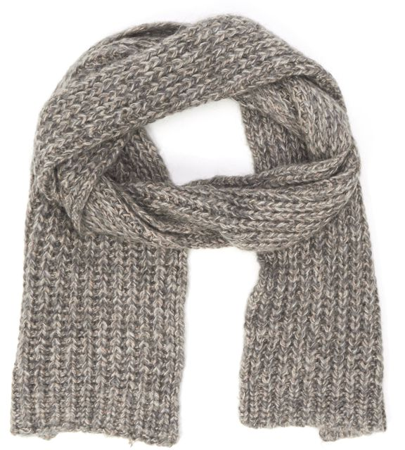 SANDRO Brown Beige Metallic Knit Scarf