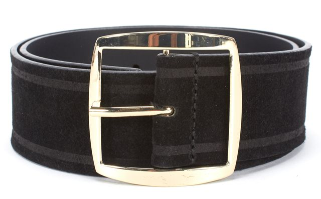 SANDRO Black Suede Gold Tone Buckle Belt