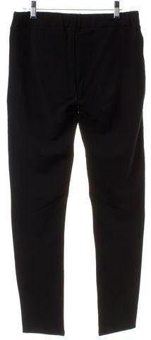 SANDRO Black Jersey Leather Front Zipper Trim Leggings