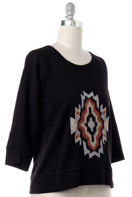 SANDRO Black Embroidered Sweatshirt Top
