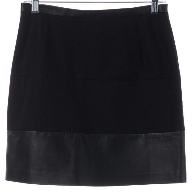 SANDRO Black Leather Panel Mini Skirt Fits Like a 4