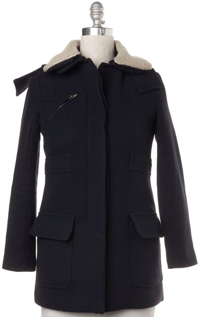 SANDRO Navy Blue Wool Faux Shearling Trim Basic Winter Coat