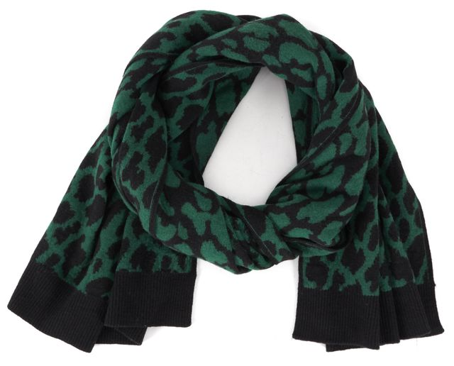 SANDRO Green Black Wool Animal Intarsia Knit Scarf