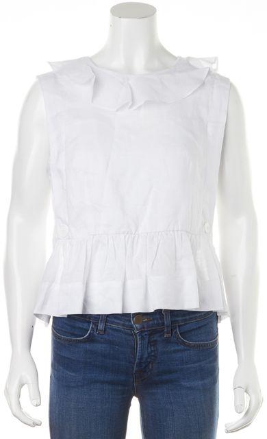 SANDRO White Linen Blouse Top