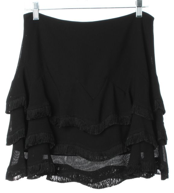 SANDRO Black Mesh Fringe Trim Above Knee Tiered Skirt Size 2 US