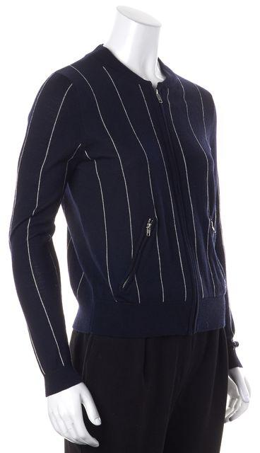 SANDRO Navy White Striped Zip Up Cardigan Sweater