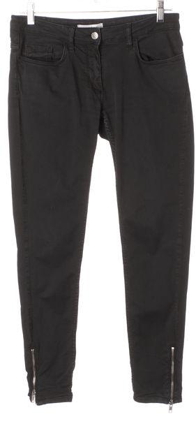 SANDRO Black Cotton Denim Ankle Zip Skinny Jeans
