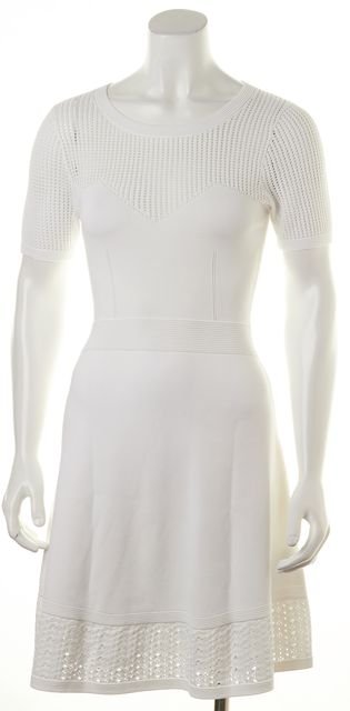 SANDRO White Fit & Flare Knit Dress