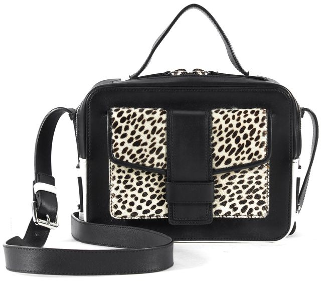 SANDRO Black White Beige Leather Calf Skin Alexa Shoulder Bag