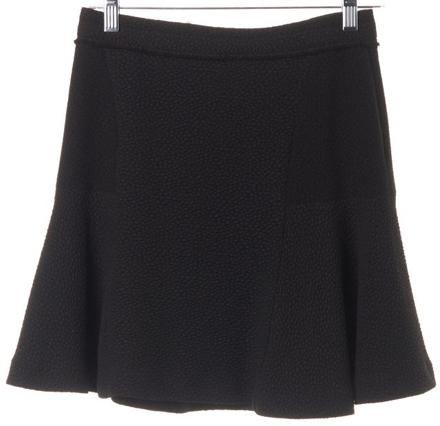 SANDRO Black Textured Waist Fringe Trim Flounce Mini Skirt