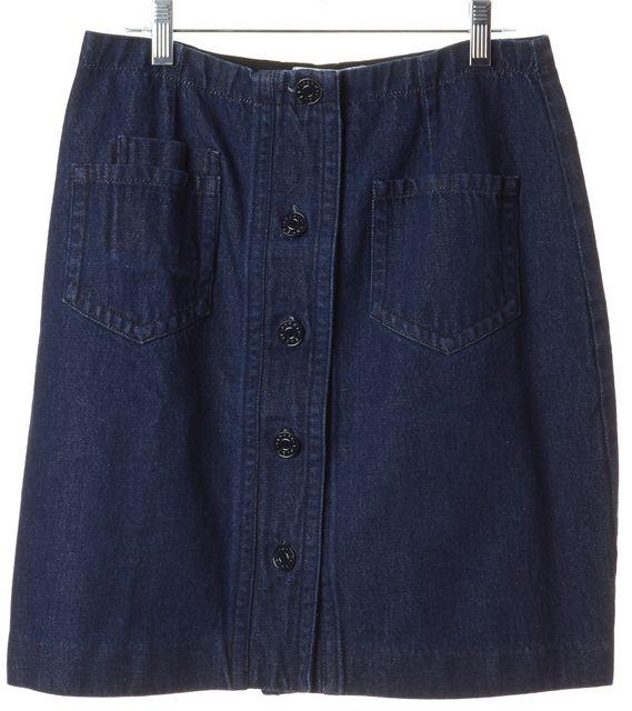 SANDRO Blue Denim Pocket Front Brut Straight Skirt