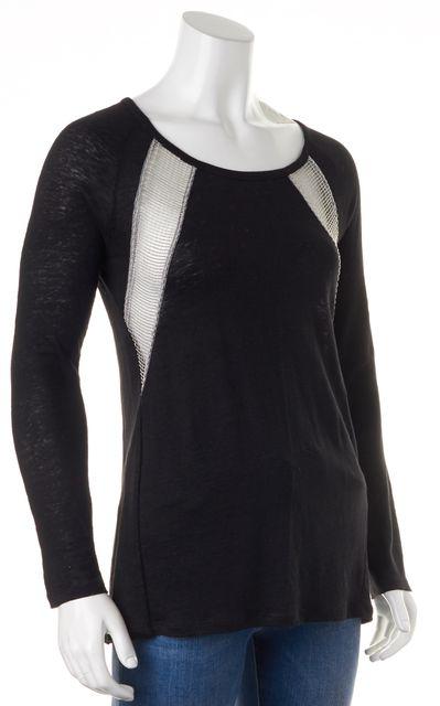 SANDRO Black Silver Beaded Embellished Sheer Panels Linen Knit Top