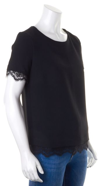 SANDRO Solid Black Fine Lace Trim Short Sleeved Back Zip Up Blouse