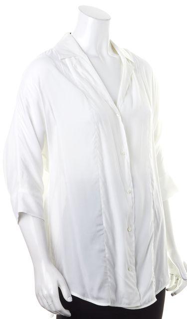 SANDRO White Sheer 3/4 Sleeve Button Down Shirt