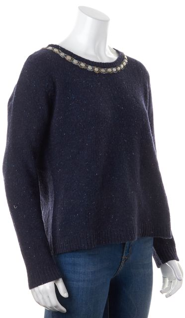 A.L.C. Navy Blue White Pattern Knit Wool Sweater Top | Material World