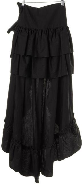 SANDRO Black Noir Ruffle Maxi Carmen Skirt